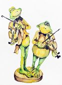 Cheerful green frogs play violins  wedding comic concept. Handmade watercolor painting illustration on a white paper art background poster