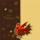 Happy Thanksgiving Day concept with beautiful turkey bird on seamless maple leaves decorated background, can be use as flyer, banner or poster.  poster