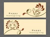 Happy Thanksgiving Day website header or banner set with floral decorated turkey bird on abstract background.  poster