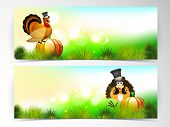 Happy Thanksgiving Day website header or banner set with with beautiful turkey bird, fruits and vegetables on nature background.  poster