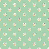 Seamless vector pattern or texture with little cupcakes, green and violet hipster muffins, sweet cake on mint green background. Background with sweets for desktop wallpaper, web design, kids or culinary blog website poster
