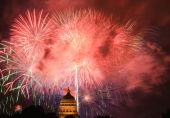 Fireworks display on 4th of July 2009 in Jefferson City Missouri State Capitol poster