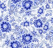 Blue floral textile vector seamless pattern in Russian gzhel style poster