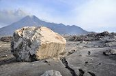 Large sized boulder spew from Mt. Merapi volcano poster