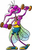 Funny purple mosquito wearing a yellow tank and a blue short while grinning, posing and lifting weights to strengthen its skinny figure poster