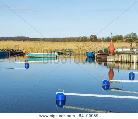 harbor at Achterwasser in Zempin at the baltic sea in Usedom poster