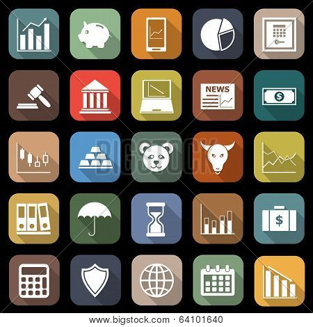 Stock Market Flat Icons With Long Shadow