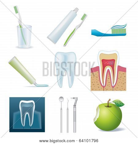 Dental icon set isolated on white background,vector EPS 10. poster