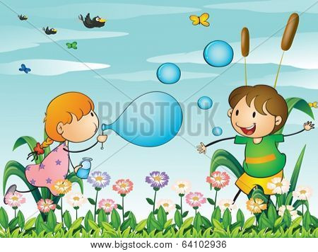 Illustration of the kids at the garden playing with the blowing bubbles
