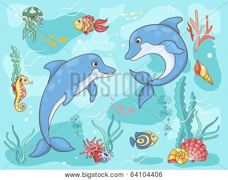 Two dolphins in the sea