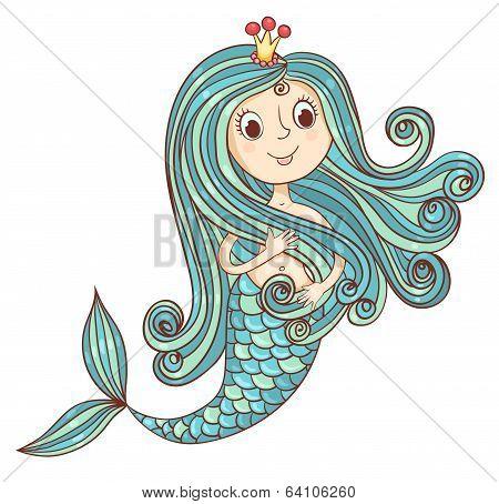 Mermaid princess isolated on white