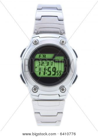 Digital Dress Watch With Green Face