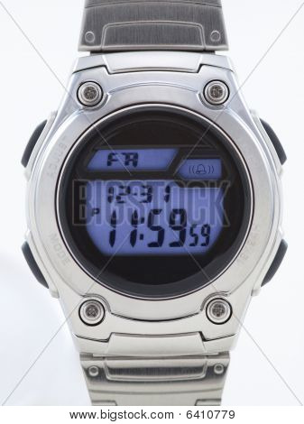 Digital Watch Close Up With Blue Face
