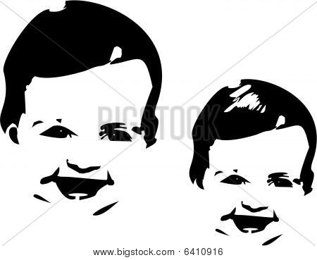 Silhouette of 3 months old child smiling.. poster