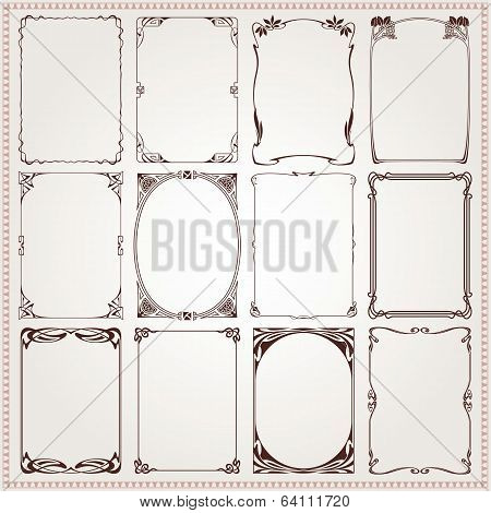 Decorative Borders And Frames Art Nouveau Style Vector
