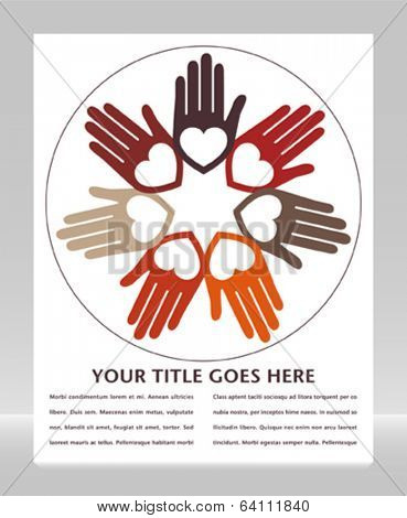 United hands and hearts design with copy space.