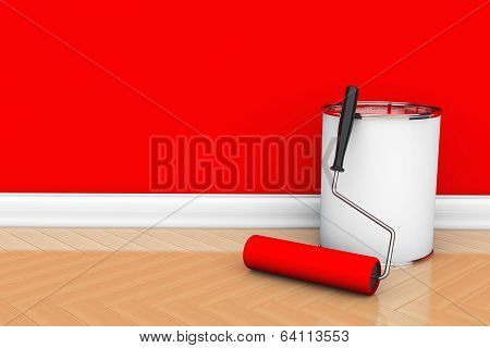 Paint Can With Roller Brush