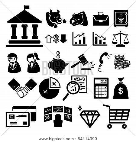 Stock financial icons set  illustration
