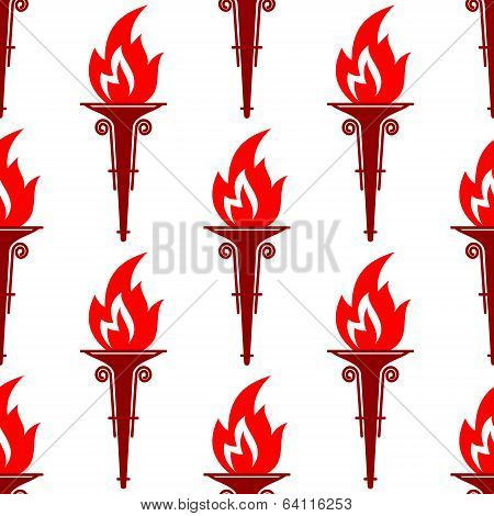 Flaming torch seamless pattern with a repeat motif with a bright red flame in square format poster