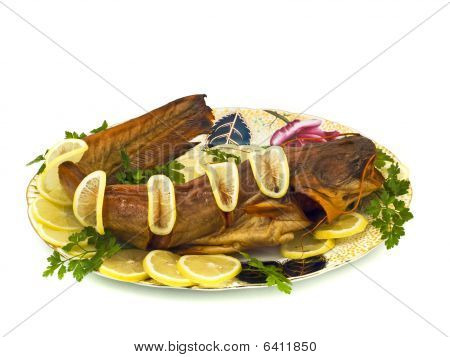 Tasty Dinner - Bloated Fresh-water Catfish On The Plate