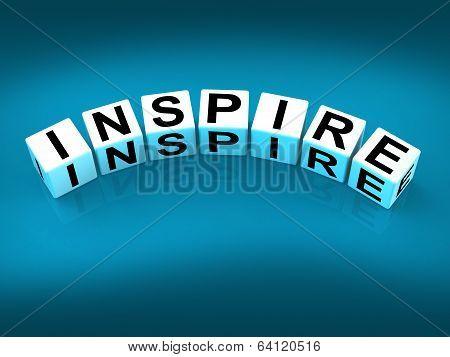 Inspire Blocks Show Inspiration Motivation And Invigoration