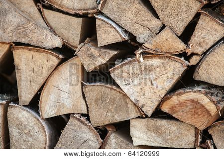 Close Up Outdoor Photo Of Dry Firewood