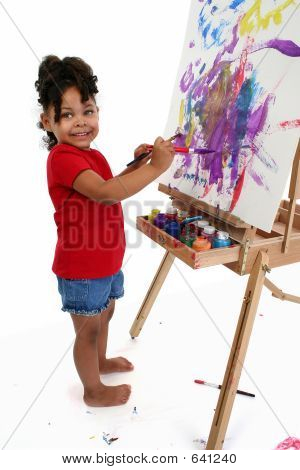Adorable Girl Painting