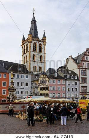 The Ancient Market Square In Trier City In Germany