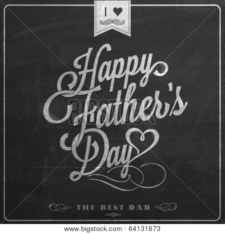 Happy Father's Day Typographical Background On Blackboard With Chalk