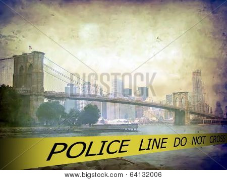 Police line do not cross sign tape on grunge Scenic view of Brooklyn bridge over East river background poster