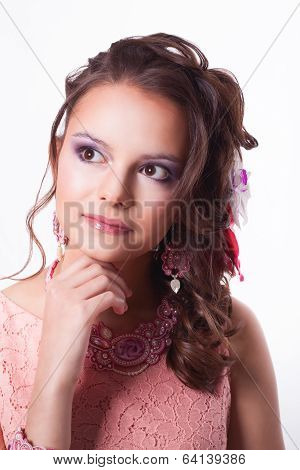 Beautiful Brunette In The Spring Image Dreams