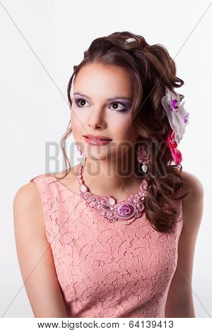 Woman With Spring Mood With Decorations In The Art Soutache With Flowers Smiling