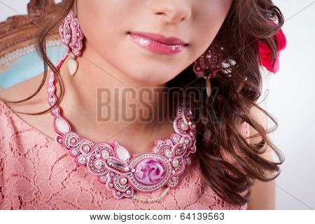 Pink Decoration Technique Soutache A Girl