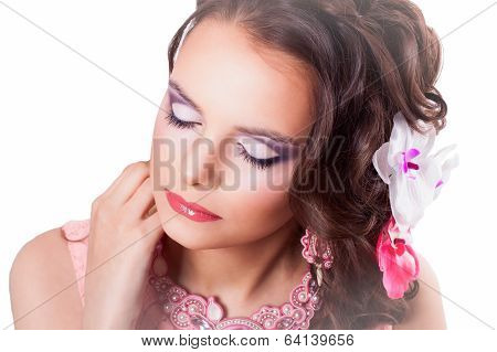 Beautiful Purple Makeup On The Girl With Closed Eyes In A Pink Dress