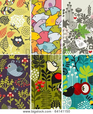 Set of vertical cards with birds and flora. Vector illustration. poster