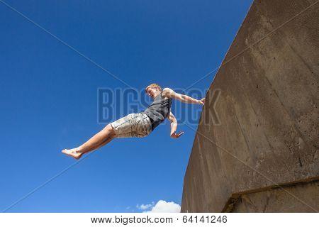 Boy Jumping Blue Sky Parkour