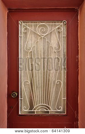 Door With Abstract Sun Pattern