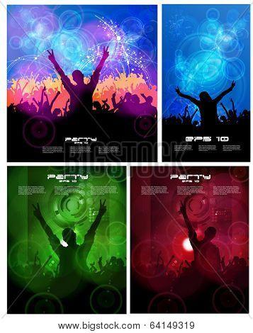 Big set of concert poster. Vector illustration