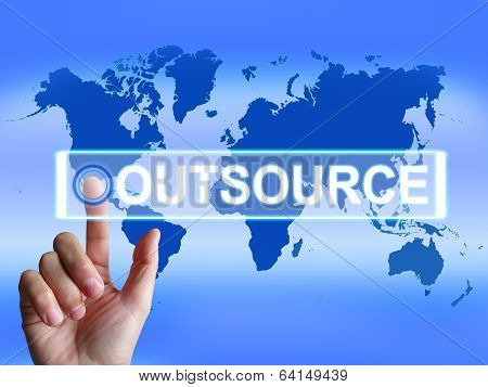 Outsource Map Means International Subcontracting Or Outsourcing