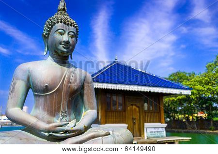 Buddha Statue In Gangarama Buddhist Temple, Colombo, Sri Lanka poster