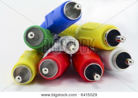 Multi-coloured Audio And Video Connectors