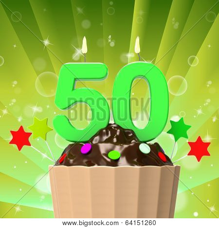Fifty Candle On Cupcake Shows Fiftieth Anniversary Or Remembranc
