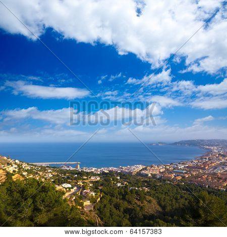 Javea Xabia aerial skyline from Molins in Alicante Mediterranean Spain