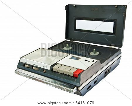 Old Video Cassette Recorder Ejecting Isolated On White Background