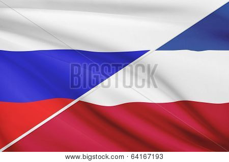 Series Of Ruffled Flags. Russia And Socialist Federal Republic Of Yugoslavia.