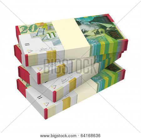 Israeli Shekel money isolated on white background. Computer generated 3D photo rendering.