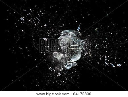 close up image of glass ball  explosion poster