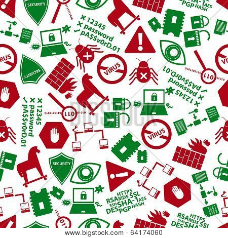 computer security icons red and green pattern eps10
