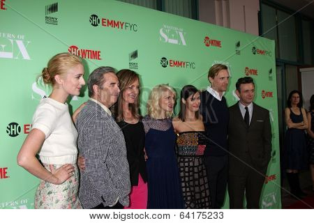 LOS ANGELES - APR 29:  Caitlin FitzGerald, B Bridges, Allison Janney, A Ashford, Lizzy Caplan, Teddy Sears, Michael Sheen at the