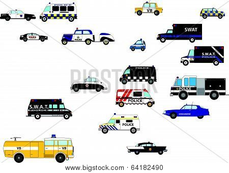 Small and large police cars from different parts of the world, mainly Europe. poster